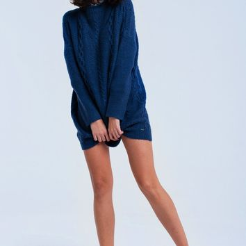 Cable knit navy dress
