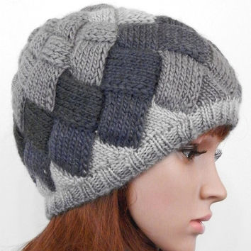 Hand knitted entrelac beanie shades of gray
