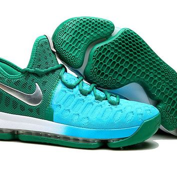 VAWA Nike Men's Durant Zoom KD 9 Knit Mid-High Basketball Shoes Green Blue