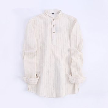 Summer 2017 Men's Linen&Cotton Long Sleeve Henley Neck Dress Shirts Breathable Casual Striped Work Shirts camisa masculina