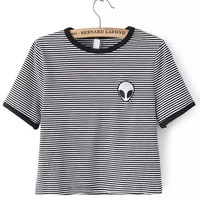 Black White Crew Neck Striped Alien Print Crop T-Shirt