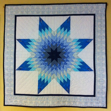 Blazing Star Quilted Wall Hanging - Blue and White