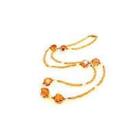 "Topaz Crystal 14k Gold Accents Necklace 29"" Long"