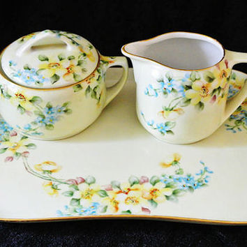 Antique Artist Signed Hand Painted Porcelain Tea Set Sugar Creamer Tray Set AK Limoges  MZ Austria Flowers Floral Cottage Chic Home Decor