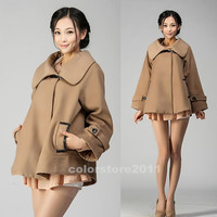 camel Wool coat Women long cape Wool Cape Cashmere coat winter coat Cape woman dress/cloth/jacket dy59 S-XXXL
