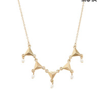 Aeropostale  Triangle Faux Pearl Short-Strand Necklace