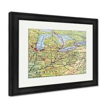 Framed Print, Map Of The Ohio State With Selective Focus
