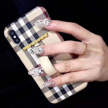 LV x Burberry fashion hit women embossed wrist band iPhone case