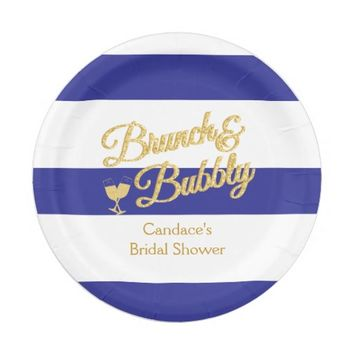 Blue and White Stripe Bridal Shower Paper Plate