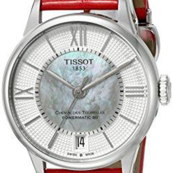 Tissot Women's 'T-Classic' Swiss Stainless Steel and Leather Automatic Watch, Color:Red (Model: T0992071611800)