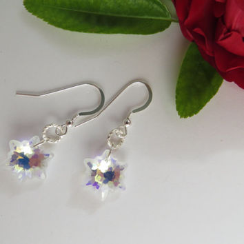 Swarovski Crystal Earrings, Swarovski Earrings, Christmas Snowflake Earrings, Sterling Silver Earrings, Crystal AB Star Christmas Earrings