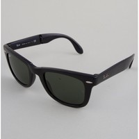 Ray-Ban Folding Wayfarer Sunglasses - Black // Crystal Green
