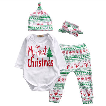 4 Pcs Newborn Kids Baby Girl Boy Letter Christmas Outfit Set Infant Babies Long Sleeve Onesuit+Pants+Hat+Headband Xmas Outfits