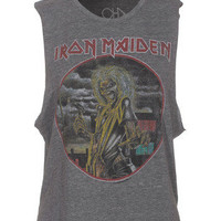 CHASER LA  Iron Maiden Grey Band top with print - T-Shirts & Tanks
