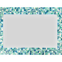 Mirror for Beach House, Mosaic Wall Mirror in Sea Foam Green, Aqua, Turquoise and White