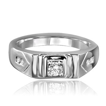Elegant 0.2 CT. (4mm) round simulated Diamond Veneer - Diamond set in fine Stainless Steel Men Sterling Silver ring 635R1012