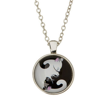 Frankie & Stein Black & White Ying-Yang Cats Necklace | zulily