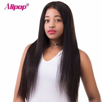Brazilian Lace Front Human Hair Wigs For Women Black Full Straight ALIPOP Human Hair Wigs Pre Plucked Wig Remy Lace Front Wig