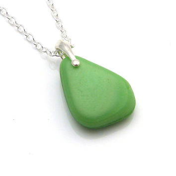 Sea Glass Necklace, Beach Glass Necklace, Seaglass Necklace, Sea Glass Pendant,  ELINA, Milk Glass Necklace