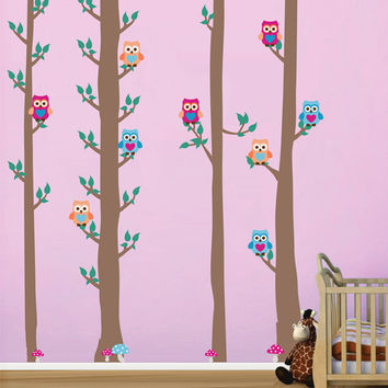 kcik1672 Full Color Wall decal bedroom children's Custom Baby Nursery tree nusery decal tree forest owl birds
