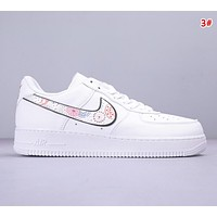 NIKE Air Force 1 Low & Off White New fashion embroidery floral butterfly couple shoes 3#