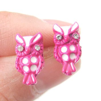 Owl Bird Shaped Stud Earrings in Pink and White | Animal Jewelry