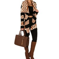 Sale-black Aztec Stripe Cardigan