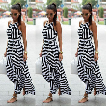 Women Sexy Summer Dress Boho Maxi Long Party Beach Dress Sundress Harness women striped maxi dress s-xl