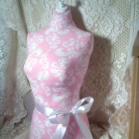 Pink Damask Dress form mannequin craft show display Vintage Shabby chic white and pink store design On Sale
