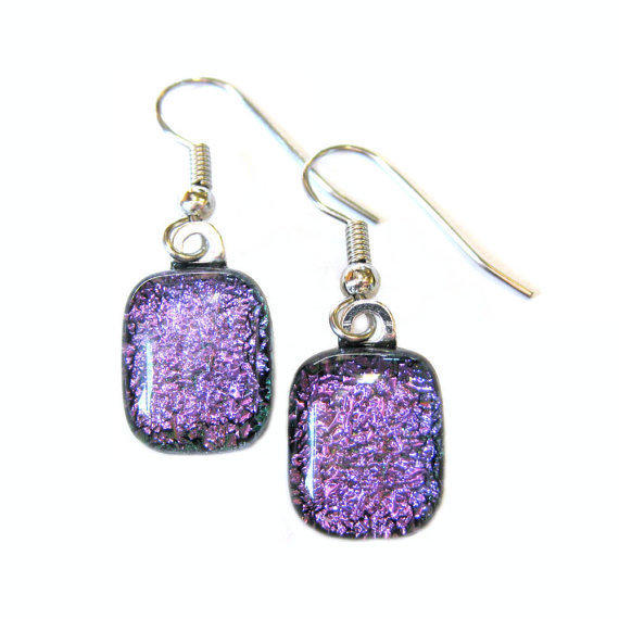 Dichroic Glass Earrings - Purple Earings, Jewelry - Violet Sparkle - 783