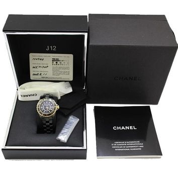 Chanel J12 Quartz 33mm H2543 Black Ceramic Diamond 11P Gold Excellent++ Japan