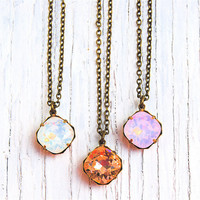 Opal Necklace  Small Pendant Necklace  Pink by MASHUGANA on Etsy