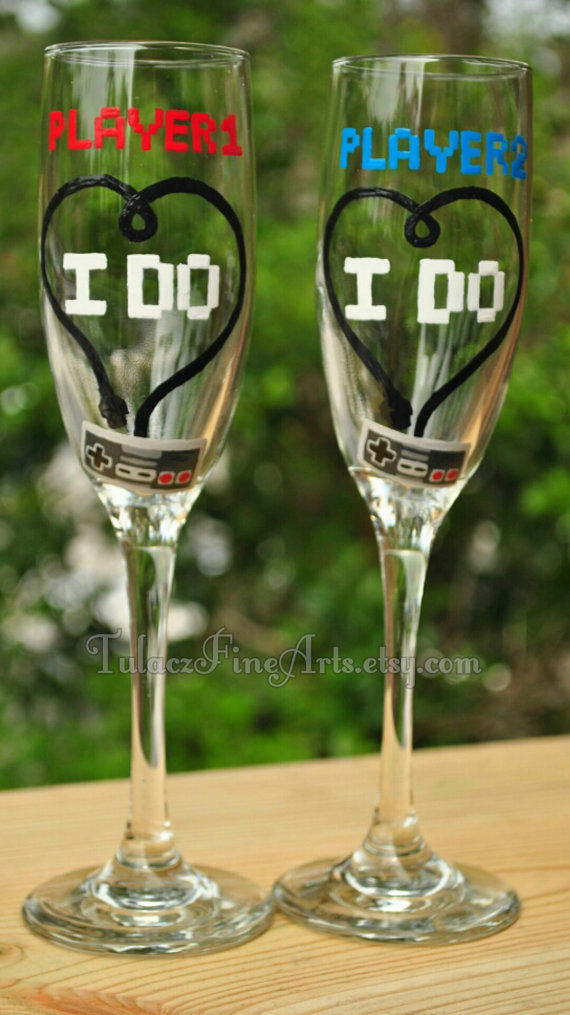 Hand Painted Video Game Wedding Glasses From TulaczFineArts On