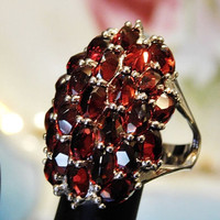 Vintage Garnet Ring Cluster Sterling Silver Massive Over 17 CTS Genuine Garnet Statement Ring Size 8 Eight Ladies Ring January Birthstone