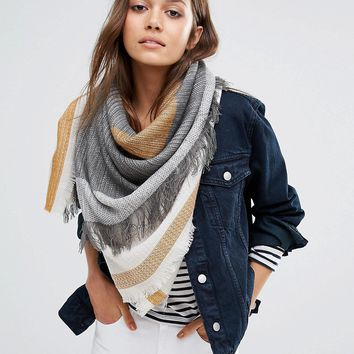 Pieces Woven Oversized Scarf in Tabacco and Grey Mix at asos.com