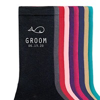 Whale Theme Personalized Wedding Socks - Groom, Groomsmen, Best Man Dress Socks