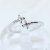 Tiny Sideways Cross with CZ crystals Ring in Silver- adjustable ring