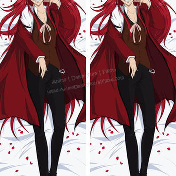 New Custom Made Black Butler (Kuroshitsuji) Grell Sutcliff Anime Dakimakura Japanese Pillow Cover Custom Designer Yoko-Darkpaw ADC43