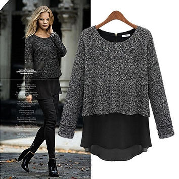 2015 fall fashion women's false two long sleeved jacket T-shirt bottoming sweaters new plus size Womens Fashion beaded casual Sweaters Pullovers Faux 2 pieces = 1920108932