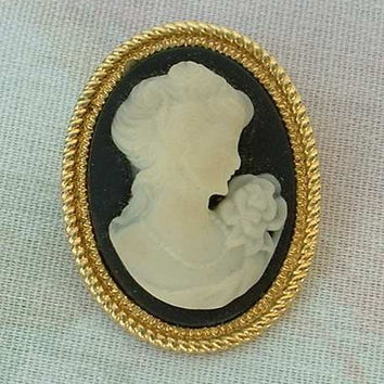 Small Victorian Style Cameo Brooch Pin Black White Vintage Jewelry