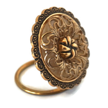 Vintage Scarf Ring,Gold Tone Scarf Clip, WESTERN GERMANY Scarf Slide,Round Scarf Holder,Scarf Accessories,Filigree Scarf Clip,Scarf Jewelry
