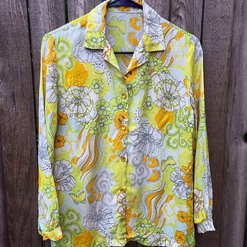 Vintage Womens Flower Long Sleeve Shirt Floral Blouse Shirt Button Down Polyester 1960s  Orange Green Yellow Disco Shirt For Women