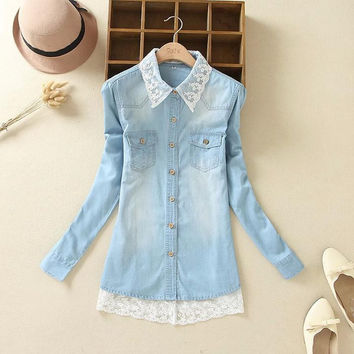 Tangada Fashion Women Denim Blue Lace Patchwork Blouses Turn Down Collar Long Sleeve Pocket Shirts XXL Plus Size Casual Top XH0
