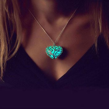 Silver Filigree Glow In the Dark Heart Pendant Necklace