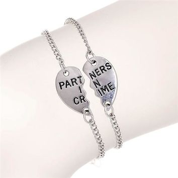 2 pcs Half Heart Shape Charm Bracelets For Couples