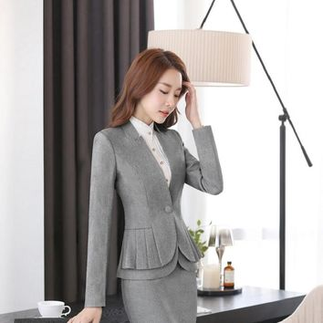 Formal Uniform Style Professional Business Women Blazers Jackets Female Work Wear Ladies Coat Tops Outwear Overcoat Elegant Grey