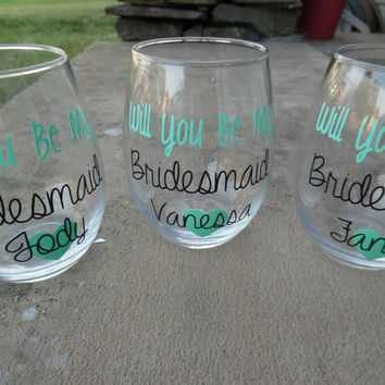 Will You Be My Bridesmaid Gift, Bridesmaid Wine Glasses, Bridesmaids Wine Glass, Maid Of Honor Wine Glass, Personalized Wine Glasses