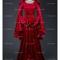 Red Velvet Medieval Hooded Dress - Devilnight.co.uk