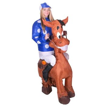 JYZCOS Inflatable Horse Costumes Jockey Races Fancy Dress Cosplay Purim Halloween Party Night  Airblown Outfits