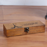 Korean Vintage Wooden Box Jewelry Pen Storage Stationary [6282701446]